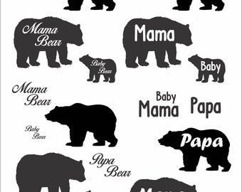Cute Papa, Mama and Baby Bear File Download SVG EPS PNG art clipart Cute Shirts Family
