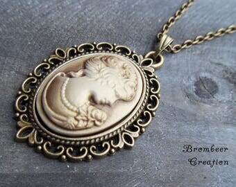 necklace gemme, gemme necklace, vintage necklace, cameo necklace,