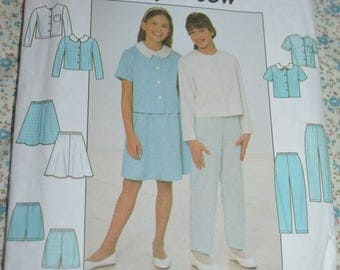 Simplicity 8051 Girls Top Skirt and Pants or Shorts Sewing Pattern - UNCUT  - Size 12 14 6