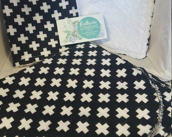 Matching Cotton Flannel baby boy/ gender neutral Receiving/Swaddle Blanket and Burp Rag set