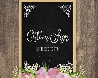 Custom wedding chalkboard sign printable, Chalkboard wedding sign, Personalized rustic chalkboard sign, Big / Small chalkboard sign decor