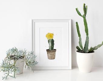 Cactus watercolor illustration - handmade