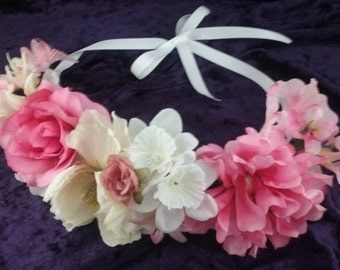 Woodland Pink and Cream Flower Crown ~ Silk Flowers ~ Wedding Accessory ~ Special Occasions ~Hairpiece ~ Pink, White, Cream, Yellow, Green