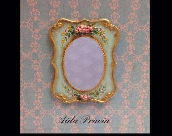 Mirror 1:12. Dollshouse. Hand painted furnitures