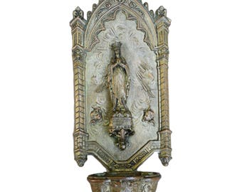 French Antique Our Lady of Lourdes Holy Water Font - 19th Century French Spelter Wall Benitier - French Religious Water Font