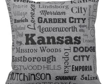 Kansas cities pillow - KS typography throw pillow - purple or gray decorative pillow - Kan. gift - cushion