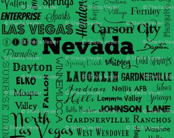 Nevada fabric - NV cities typography fat quarter - Nev. FQ - green or gray