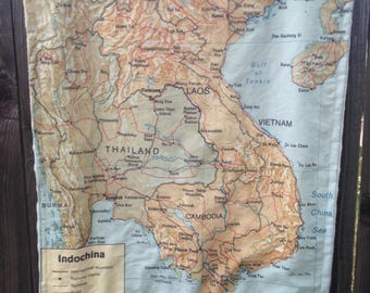INDOCHINA map blanket - Vietnam, Laos, Thailand, Cambodia map baby minky security blankie - small travel blanky, lovey, woobie - 16 by 19 in
