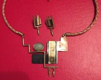 Necklace Pierced Earrings Set Copper Brass