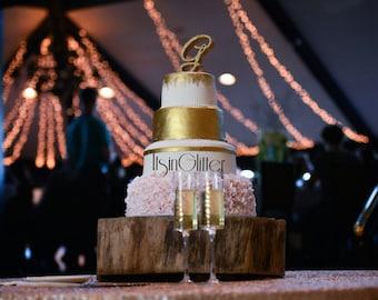 3D Monogram glittered wedding cake topper
