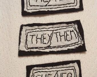 Hand Embroidered Iron-On Pronoun Felt Patch