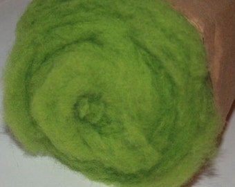 Felting Wool Carded leaf light green weight 50g - Carded Wool for Felting - Needle Felting Wool- Photo Shop Wool Sampler-Wet Felting Wool -