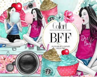 Friends Clip Art Set, Hand Drawn Watercolor Fashion Illustrations, BFF Clip Art, Cotton Candy, Cupcake, Camera, Girls, Flowers, Coffe Cup