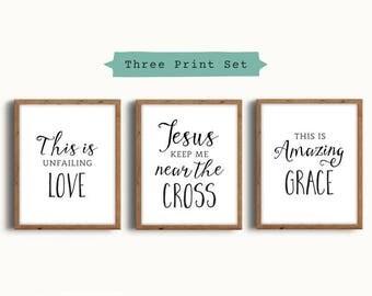 Christian Wall Art, Hymn Art Signs, Jesus Keep Me Near the Cross, Wall Art Print Set, Scripture Art, Scripture Printable, Digital Print Set