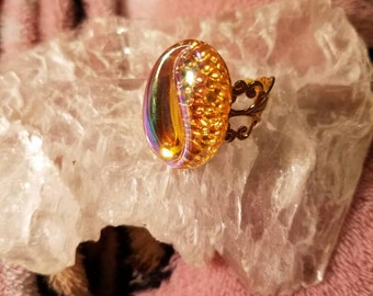 Glass topaz ab adjustable ring