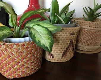 Set of 3 planter wicker/straw  baskets