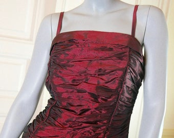 Vintage European Burgundy Evening Gown, Dark Red Formal Dress, Vintage Prom Dress, Evening Dress, Sleeveless Gown: 14 (US), 18 (UK)