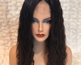 HUMAN HAIR TOPPER clip on topper  18  inch dark brown curly wavy thick density