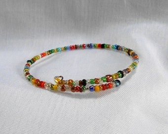 Memory Wire Multi Color Glass Seed Bead Bracelet