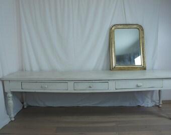 Vintage French White Farmhouse Table
