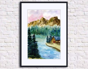 Pine Tree Print Original Watercolor Painting Pine Tree Art  Mountain Print Landscape Painting Lake Print Nature Print Forest Print
