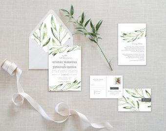 Kendall - Printable Wedding Invitation Suite | Watercolor, Green, Olive Branch, Botanical