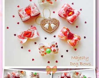 """Set of Bows for dogs """"Valentine's Day """" (5 bows + 1 in a gift)"""