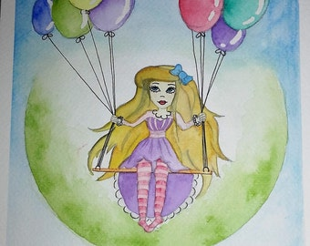 Watercolor illustration Lady with balloons