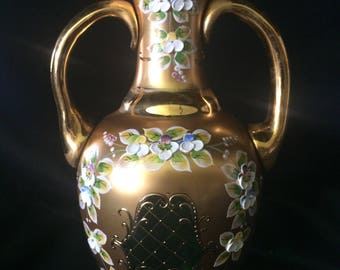 Czech bohemia glass - Vase 30cm decorated gold