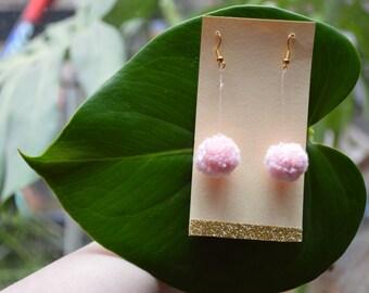 Pale Pink Pom Pom earrings