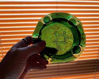 Masonic Ashtray Dark Green Thick Glass Unique! Freemason