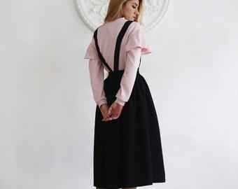 Black Black Suspender Skirt