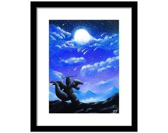 Digital copy ) Dragonite under the dark sky Pokemon Painting