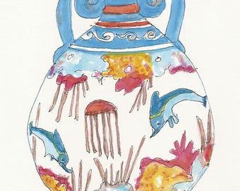 Greek Vase, Minoan Art, Dolphin, Sea Life, Pottery