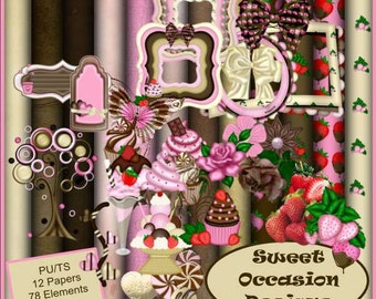 Chocolate Strawberry Swirl  Scrapbook, Scrap book, Scrapbooking Kit