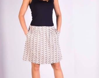 Womans skirt,Cotton skirt,Summer skirt,Pocket skirt,Lined skirt,Size 12R UK