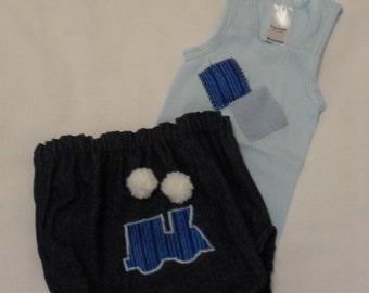 Baby boy/toddler Denim Nappy Pants and Singlet Set