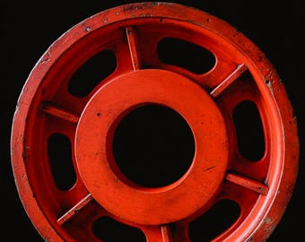 Vintage INDUSTRIAL FOUNDRY MOULD Wheel Pattern Rough Luxe Orange