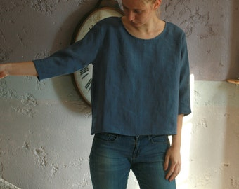 Washed linen top with 3/4 sleeves, cropped cut, boat neck, box cut top, bat sleeve top
