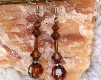 Brown and sterling silver drop earrings