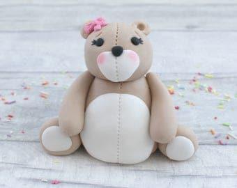 Teddy bear cake topper, sugar bear model, birthday cake topper, baby shower cake decoration, fondant bear topper, first birthday, baby cake