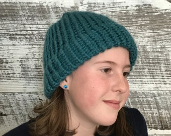 Blue teen winter hat