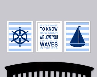 Nautical Nursery Wall Art - Waves in the Sea