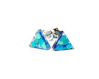 Triangle Blue Earrings, Tiny Studs, Resin hologram earrings, Silver studs, geometric studs, triangle studs, Triangle Post Earrings