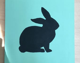 Hand painted black rabbit silhouette 12x12