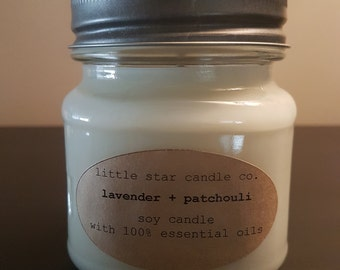 Lavender + Patchouli Soy Candle with Pure Essential Oils