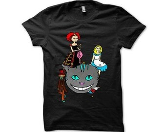 t-shirt handpainted ALICE in the Wonderland