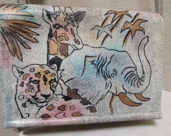 "Vintage 1980's ""The Animal"" Elephant, Cheetah & Giraffe Wild Animals Handpainted Leather BOHO Hippie crossbody purse"