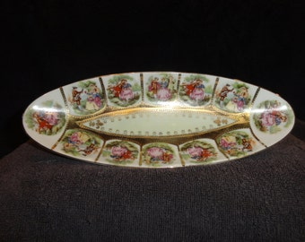 Vintage 1960's AnArtPorcelain  Decorated Tray