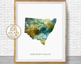 New South Wales Map Art, New South Wales Art Print, Home Decor, Wall Prints, Wall Art Home Wall Decor Watercolor Painting, ArtPrintZone